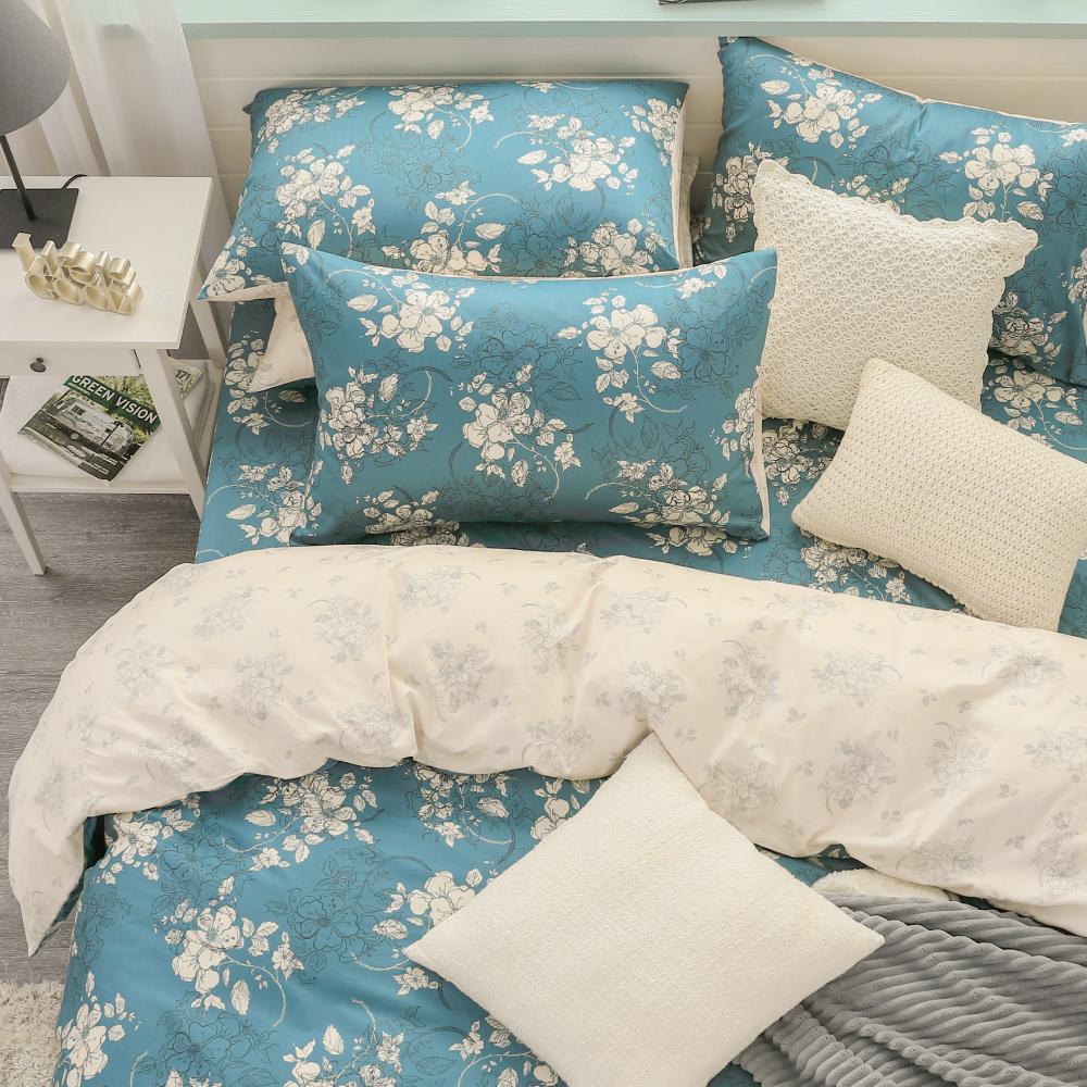 鴻宇HongYew《赫里亞 古典綠》精梳棉 雙人特大三件式床包組
