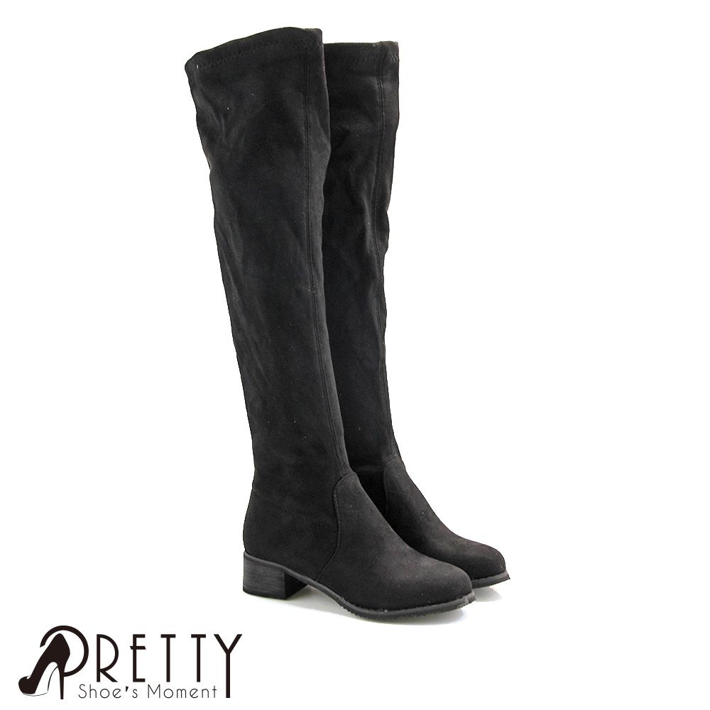 【Pretty】顯瘦彈性絨布刷毛低跟及膝靴