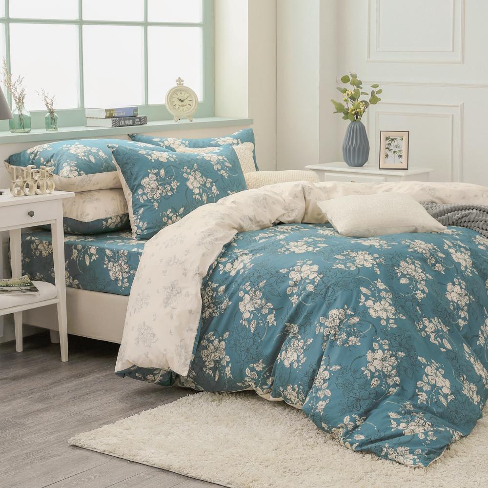 鴻宇HongYew《赫里亞 古典綠》精梳棉 雙人加大四件式薄被套床包組