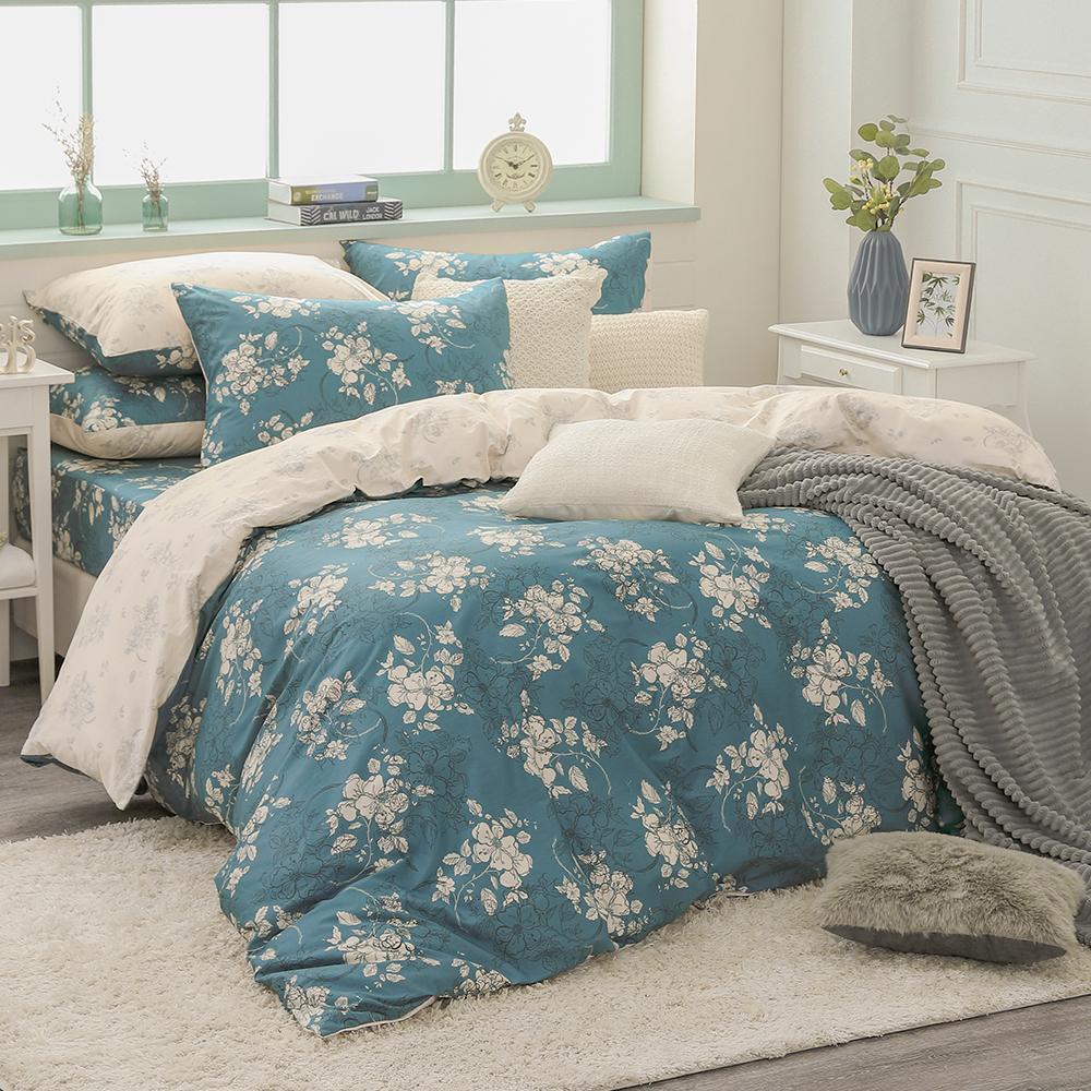 鴻宇HongYew《赫里亞 古典綠》精梳棉 雙人特大四件式薄被套床包組