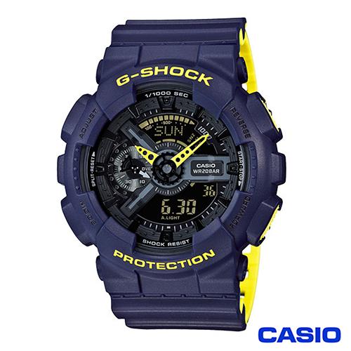 CASIO G-SHOCK時尚螢光色系列雙顯休閒運動錶 GA-110LN-2A