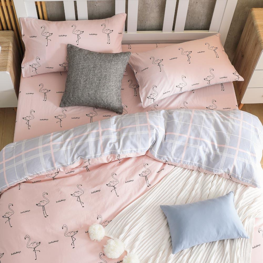 鴻宇HongYew《早安紅鶴》精梳棉 雙人特大三件式床包組
