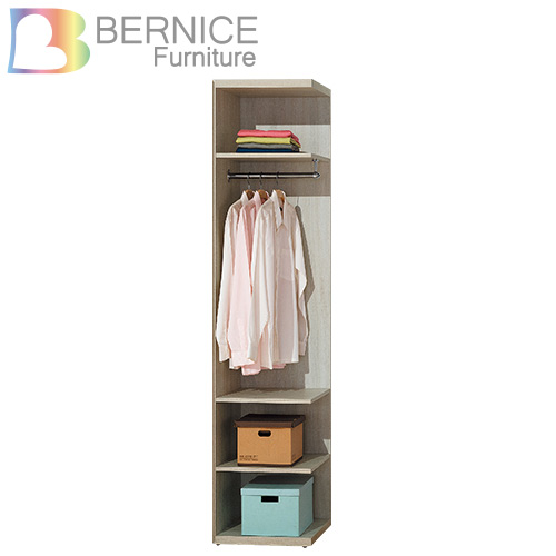 Bernice~瑞思1.5尺轉角開放式縫隙置物櫃 白橡色