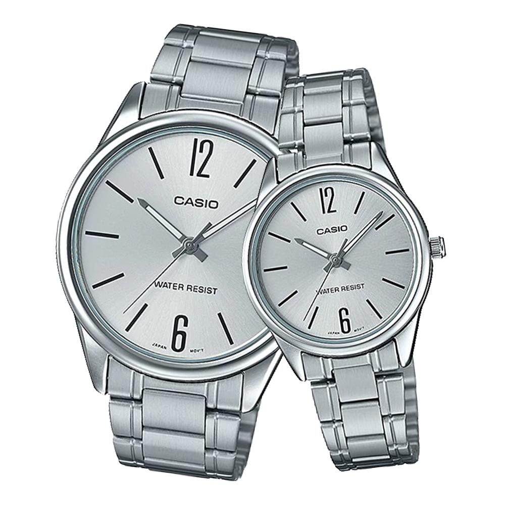 CASIO 卡西歐 指針對錶 不鏽鋼錶帶 黑 防水 MTP-V005D-7B+LTP-V005D-7B