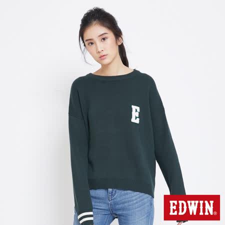 EDWIN 包浩斯落肩線衫-女-橄欖綠
