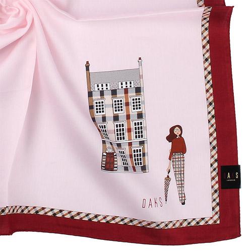 DAKS 英倫風淑女圖紋格紋邊飾純綿帕領巾-紅色