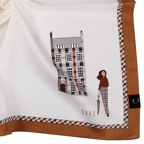 DAKS 英倫風淑女圖紋格紋邊飾純綿帕領巾-米白/咖