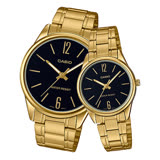 CASIO 卡西歐 指針對錶 不鏽鋼錶帶 黑 防水 MTP-V005G-1B+LTP-V005G-1B