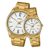 CASIO 卡西歐 指針對錶 不鏽鋼錶帶 白 防水 MTP-V005G-7B+LTP-V005G-7B