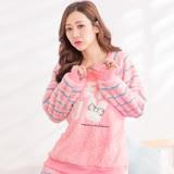 Wonderland CF-1602蝴蝶結兔兔美麗絨居家衣褲組(粉)