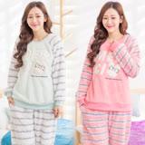Wonderland CF-1602蝴蝶結兔兔美麗絨居家衣褲2套組(藍+粉)