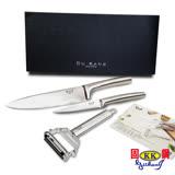 【固鋼】一體成型不鏽鋼典藏四件組(馬背炳主廚刀、萬用刀、雙面刨刀、吸鐵手工盒)