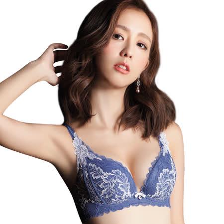 【思薇爾】慕夏星空系列B-F罩蕾絲包覆內衣(皇室藍)