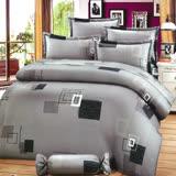 Carolan灰格 雙人五件式精梳棉兩用被床罩組