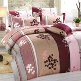 Carolan葉影-紅 雙人五件式精梳棉兩用被床罩組