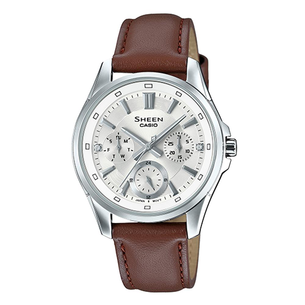 SHEEN 三眼女錶 皮革錶帶 銀 防水50米 SHE-3060L-7A