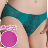 【思薇爾】香榭玫瑰系列M-XL蕾絲低腰三角內褲(魅惑紫)
