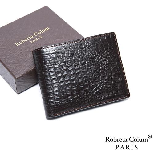 Roberta Colum - 經典鱷魚紋魅力真皮8卡2照短夾-共2色