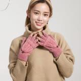 羊毛手套-雙編麻花兩用半指針織女手套5色73or1【米蘭精品】