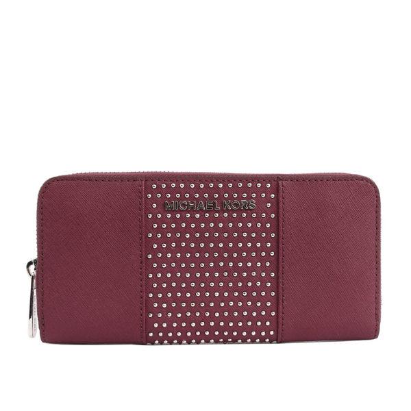 【MICHAEL KORS】防刮皮革+鉚釘ㄇ型拉鏈長夾(紫莓色)