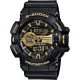 CASIO 卡西歐 G-SHOCK 金屬系雙顯手錶-經典黑金 GA-400GB-1A9