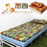 【KOTAS】冬夏透氣床墊 單人 3尺 送記憶枕1顆 記憶枕 單人床墊-動物派對-藍