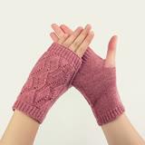 羊毛手套-菱形麻花純色露指男女手套3色73or7【米蘭精品】