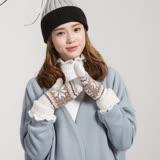 羊毛手套-翻邊雪花雙層連指女手套5色73or10【米蘭精品】