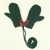 羊毛手套-手工編織加絨連指可掛脖女手套3色73or13【米蘭精品】