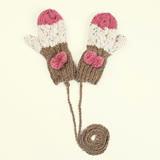 羊毛手套-手工編織條紋毛球麻花女手套4色73or18【米蘭精品】