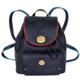 COACH深藍荔枝紋全皮撞色飾邊前旋釦袋後背包(小)