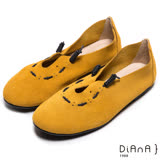 DIANA 漫步雲端布朗尼款--日系街頭文青真皮懶人鞋-櫨染黃