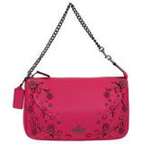 COACH深桃紅荔枝紋全皮立體花朵鍊帶手提掛小包