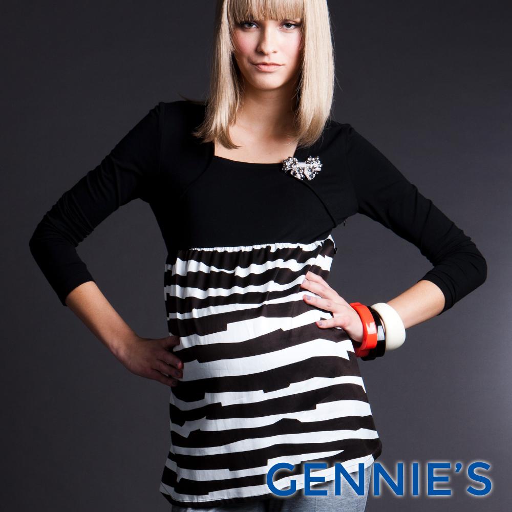 Gennies奇妮-010系列-時尚斑馬紋拼接上衣洋裝(T3245)