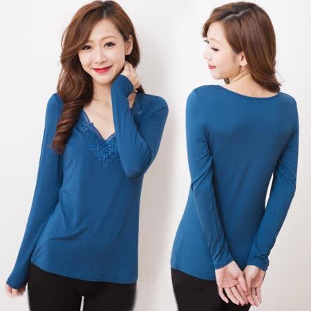 【曼格爾】古典優雅V領緹花貼身保暖衣(藍)
