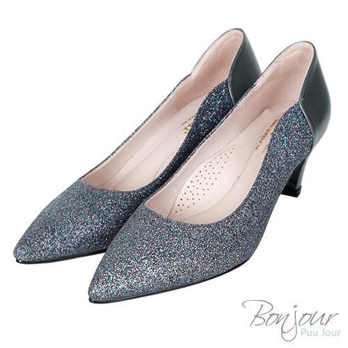 BONJOUR☆軟綿綿5cm好走氣墊尖頭高跟鞋Wedding shoes【ZB0310-5】深藍