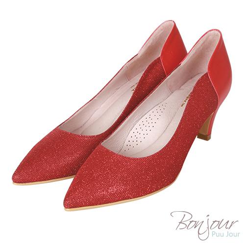 BONJOUR☆軟綿綿5cm好走氣墊尖頭高跟鞋Wedding shoes【ZB0310-5】紅