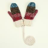 羊毛手套-鈕扣條紋加絨連指女手套3色73or26【米蘭精品】