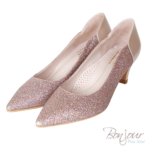 BONJOUR☆軟綿綿5cm好走氣墊尖頭高跟鞋Wedding shoes【ZB0310-5】粉金