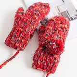 羊毛手套-多色毛球加絨連指女手套7色73or27【米蘭精品】