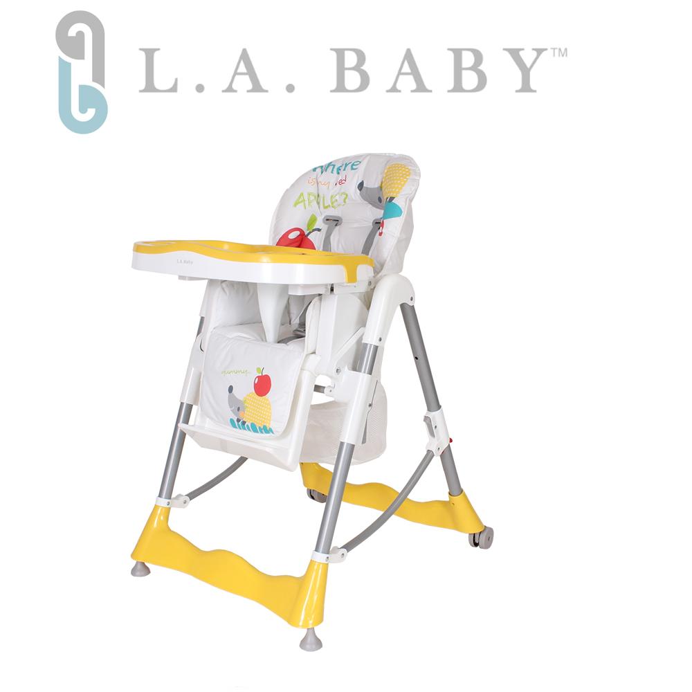 【美國 L.A. Baby】多功能高腳餐椅-腳踏不可調款(3色選購藍色、黃色、綠色)