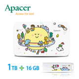 【P714星球系列】Apacer宇瞻 AC233 1TB聯名款行動硬碟+AH336 16GB 聯名款隨身碟-太空夢想
