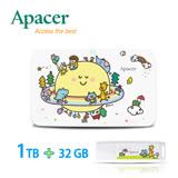 【P714星球系列】Apacer宇瞻 AC233 1TB聯名款行動硬碟+AH336 32GB聯名款隨身碟-純真友誼