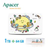 【P714星球系列】Apacer宇瞻 AC233 1TB聯名款行動硬碟+AH336 64GB聯名款隨身碟-一路友你