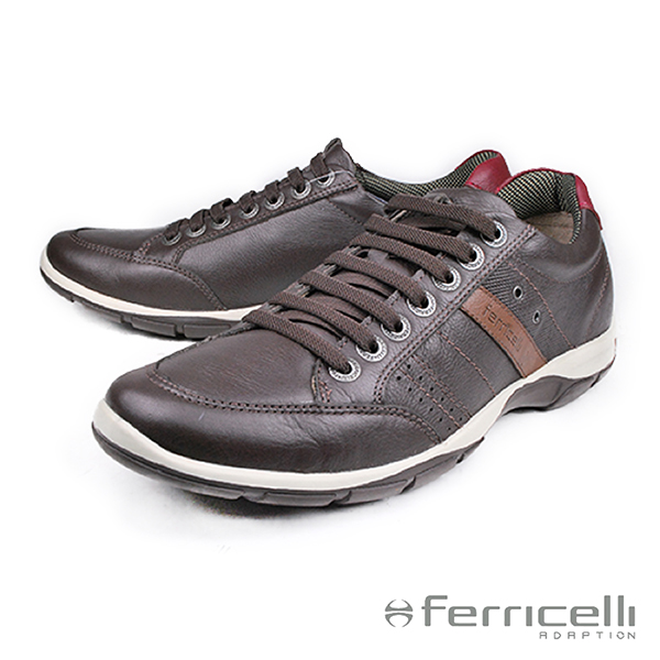 【ferricelli】Azera牛皮減震男仕休閒鞋 咖啡(F42480-BR)