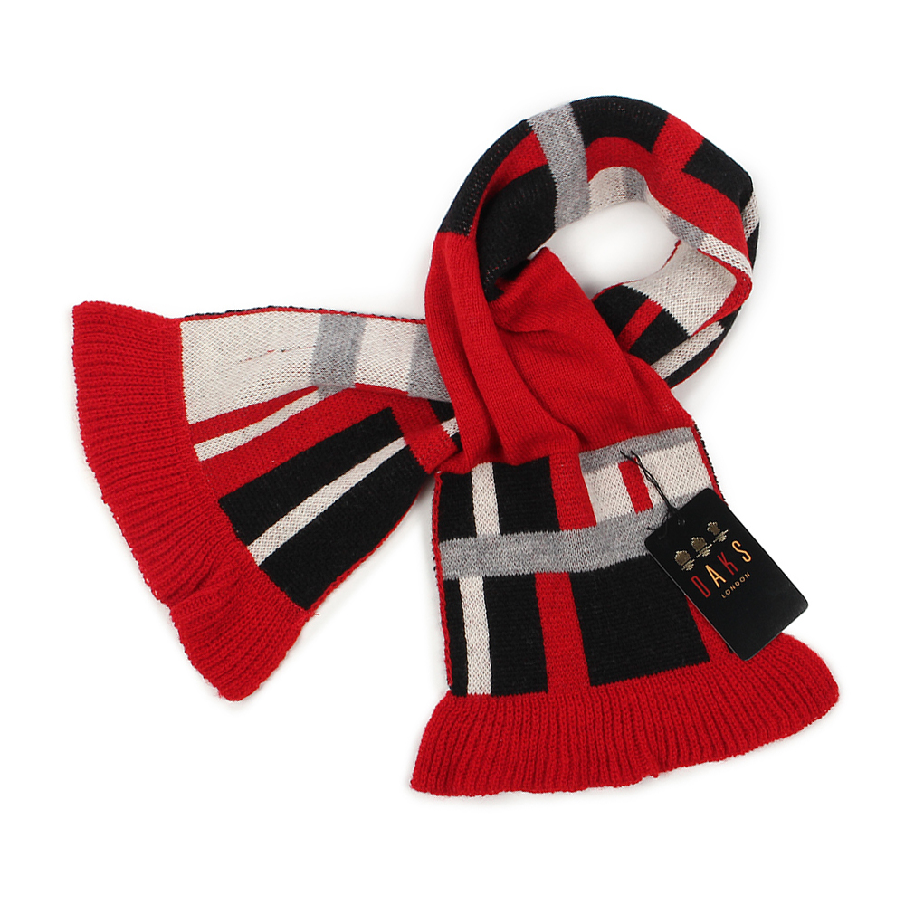 DAKS 經典格紋100%羊毛雙色圍巾-紅色