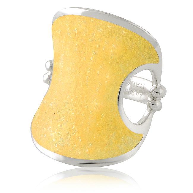 MONT BLANC 萬寶龍 弧形寬版純銀戒指-鵝黃色(52號)