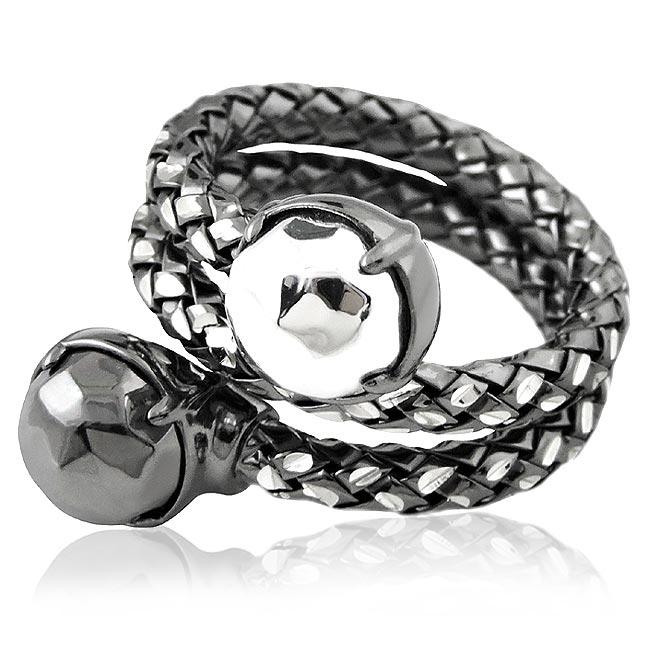 MONT BLANC 萬寶龍 編織雙圈造型純銀戒指-金鋼銀色(52號)