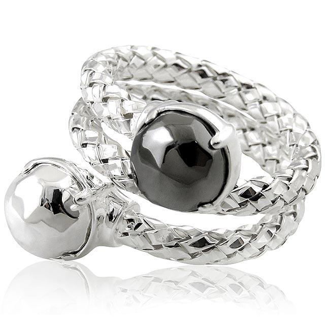 MONT BLANC 萬寶龍 編織雙圈造型純銀戒指-銀色(52號)