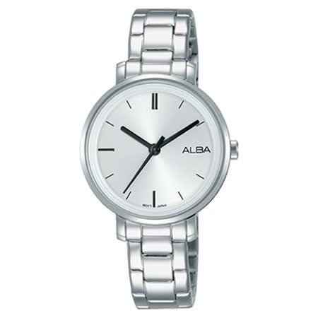 ALBA 石英女錶 不鏽鋼錶帶 銀白 防水30米 AH8375X1